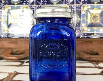 Cobalt Blue Hazel Atlas Pressed Glass Shaker; Pepper Shaker; Vintage