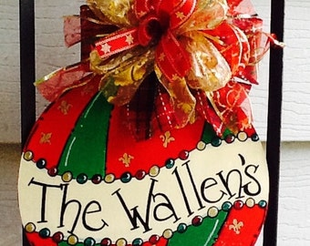 Ornament name door sign, ornament door hanger, christmas door hanger, christmas door sign, christmas ornament sign, holiday door hanger,