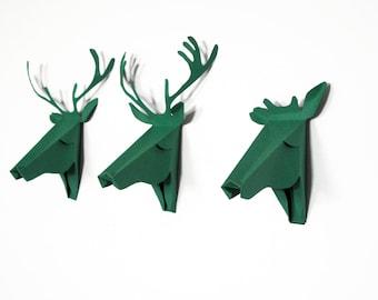 Set of 3 faux deer head, faux taxidermy , greeting card, green pool