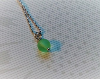 Sea glass necklace stainless steel  green sea glass