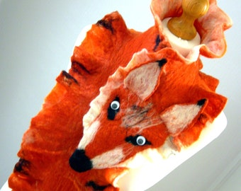 sale  sale Hand Felted, Wool Jewelry felted WOMAN  SCARF fox  Wrap Scarves
