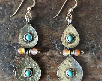 Afghan Brass, Turquoise and Carnelian Dangle Earrings