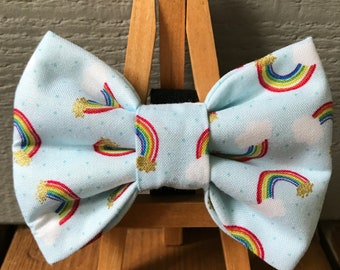 NEW! Little Rainbow Dog Bow Tie, Flower option available on this listing
