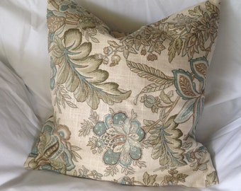 Elegant Jacobean Sand & Seaglass Throw Pillow Covers - 15x15 Set of Two