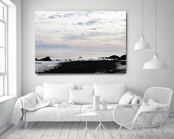 """Silver Ocean 29. Extra Large Water Canvas Art Prints up to 72"""", Seascape Blue Pink Water Photography Print by Irena Orlov"""