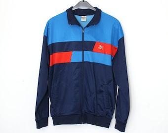 Vintage track jacket - 80s Puma sports jacket - vintage windbreaker - 1980s Oldschool Puma Tracksuit top - track jacket -  size D8 XL