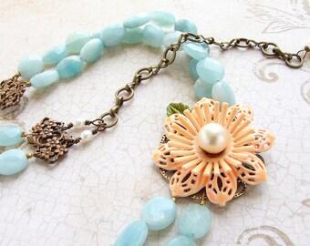 Peach mint flower statement necklace, vintage enamel flower brooch aqua sea foam stone double strands floral jewelry luxury gift her