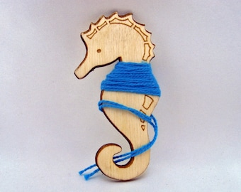 Embroidery bobbin, floss bobbin, floss holder, thread holder, skein holder, needlepoint bobbin, cross stitch, laser cut wooden Seahorse,