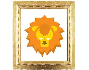 Geometric Lion Print - Instant Wall Art & Nursery Decor - Nursery Safari Animals DIY - Modern Art Decoration Download Printable