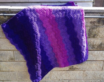 Purple shades blanket - purple afghan - purple throw - purple ripple pattern laprug - wavy purple afghan - crochet purple throw