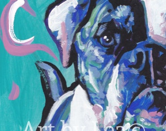 American Bulldog art print of pop art dog painting by LEA bright colors 8x8