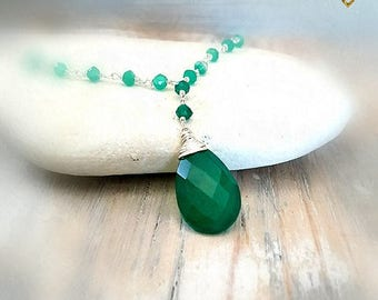 Green Onyx Necklace, Lariat Necklace, Rosary Necklace, Gemstone Jewelry