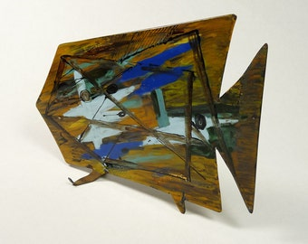 Huge Abstract Copper Enameled Fish Modernist Art