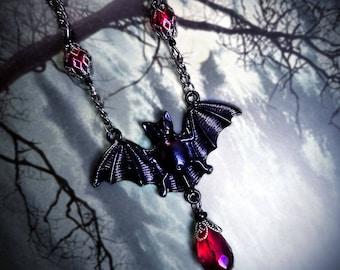 Vampire Bat Necklace, gothic jewelry, Halloween jewelry, bat jewelry, gothic necklace, Victorian gothic, blood red, vampire necklace, goth