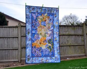 Flower Fairy quilt, blue and yellow fairy quilt, girls quilt, new baby gift, fairy blanket, fairy bedding, fairy decor, flower fairies UK