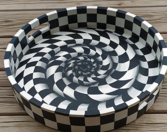 Tray hand painted checkerboard trompe l'oeil (OOAK)