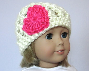 """Doll Hat Cream with Hot Pink Heart 18"""" Doll Accessories"""