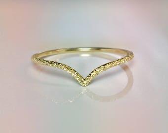 SALE 14k 10k Solid Gold Ladies Elegant V Chevron Ring - Delicate Gold Ring - 14k Gold Pinky Ring - 14k Gold Midi Ring - Gold Thumb Ring
