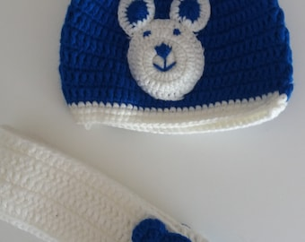 Bear motif hand crocheted hat and scarf set