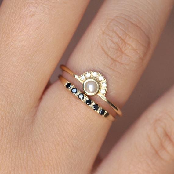 Pearl Engagement RingPave Black Diamond Wedding RingPearl