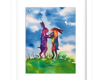 Rainbow Boxing Hares Original watercolour and ink Painting