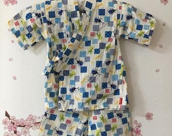 Toddler Boy Kimono, White With Bug Design, Baby Kimono, Child Kimono, Baby Gifts, Baby Jinbei, Photo Prop Idea, Ninja Outfit, Kawaii