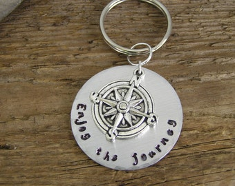 Stamped Metal Key Ring Keychain Enjoy the Journey Motivational Inspirational Compass