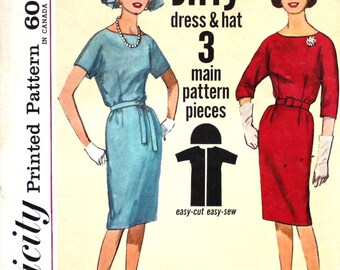1960's Jiffy Dress and Hat Bust 34 Simplicity 4732
