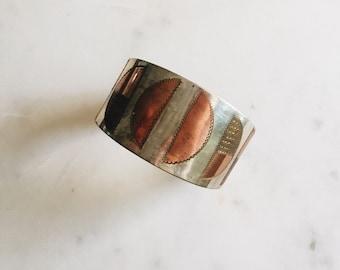 Vintage Metal Art Deco Half Round Shape Copper/Gold/Silver Cuff Bracelet