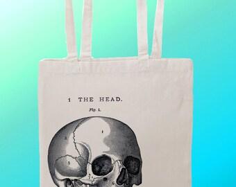Anatomical Skull Illustration Head - Reuseable Shopping Canvas Tote Bag