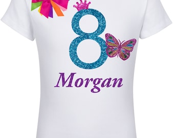 Rainbow Butterfly 8th Birthday, Rainbow butterfly Shirt, Butterfly Birthday, 8th Birthday Party, Butterfly Party Wings, Personalized Name