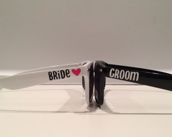 Set of Bride and Groom Sunglasses - Bridal Shower Gift - Bachelorette Party Gift - Bride and Groom Gift - Wedding Favors - Custom Sunglasses