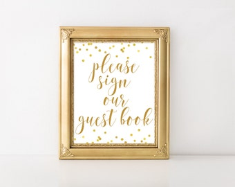 Please Sign Our Guest Book Sign Printable, Guest Book Sign, Guest Book Printable, Wedding Guest Book Sign, Bridal Shower Baby BRS1 BAS1