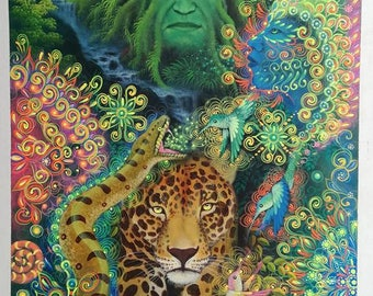 XL Ayahuasca Visionary Art by Jorge Ramires student of Amaringo