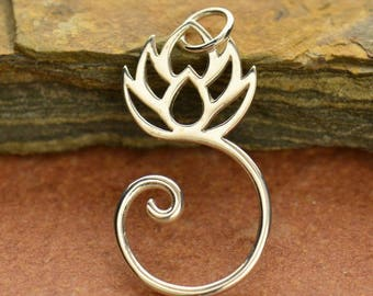 silver plated bronze lotus charm holder, charm holder, silver charm holder, lotus necklace, lotus charm holder