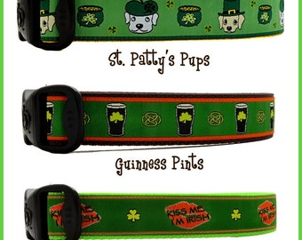 St Pattys Day, St. Patricks Day Dog Collars Pint Dog Collar, Kiss Me I'm Irish Dog Collar Irish Dog Collar