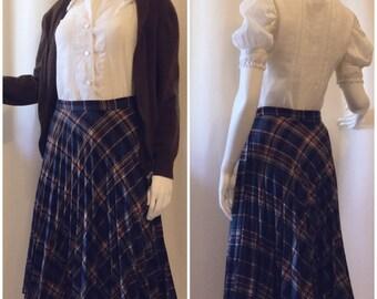 Sears 1950s Plaid Pleated Skirt
