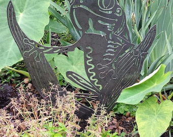 Garden Art Metal - Natural Steel - Art Metal - Frog Garden Stake