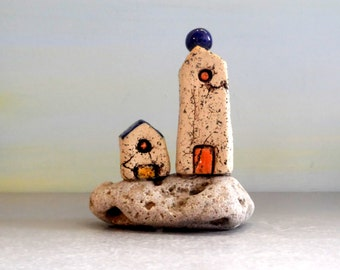 Ceramic sculpture of two miniature houses , beach cottage home decor , office decor , Christmas gift , house warming gift , blue and white