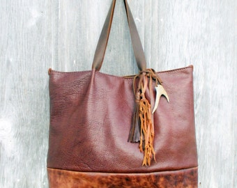 Leather Tote Bag in Bison and Marbled Chestnut / Oxblood Leather Large Size with Tassel, Deer Antler, and Knotted Fringe by Stacy Leigh