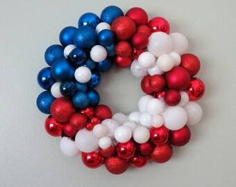 USA FLAG PATRIOTIC Ornament Wreath 4th of July wreath