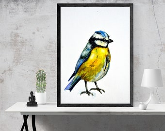 Watercolor Bird Painting Artwork Print Poster , Home Decor