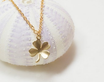 Good luck necklace, lucky charm, gold necklace, lucky charm necklace, clover necklace, gold charm necklace, charm necklace, cute necklace
