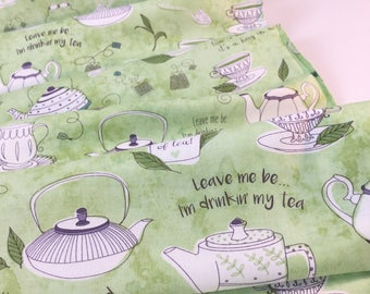 Tea Talk Green Tea Color, Tea-RRIFIC Collection designed by Alicia Jacobs for Quilting Treasures, Quilting Cotton Fabric
