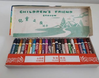 Vintage PRC Boxed Wax Crayons Children's Friend