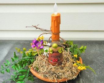 Patio Decor, Turtle decor, lighted decor, summer arrangement, floral arrangement, garden decor. Turtle Night light, Mothers Day gift