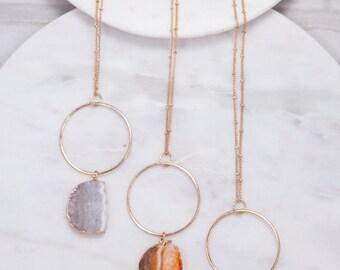 Half Circle Druzy Natural Stone Necklace