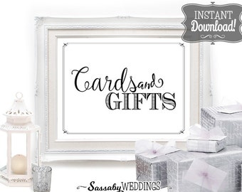 Cards & Gifts Sign - INSTANT DOWNLOAD - Wedding Table Sign with 3 sizes included, Wedding Decoration, Wedding Poster, Wedding Art