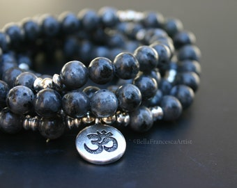 Mala Beads,Necklace,Labradorite,Gifts Under 20,108,8mm,Buddhist Prayer Bead,Om Charm,Bracelet,Zen,Rosary,Yoga Necklace,Natural Stone Beads
