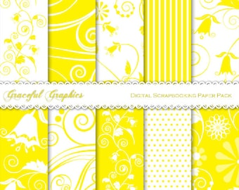 Scrapbook Paper Pack Digital Scrapbooking Background Papers Pack 10 Sheets 8.5 x 11 SWIRLS Bell Flowers Whimsical YELLOW White 2051gg